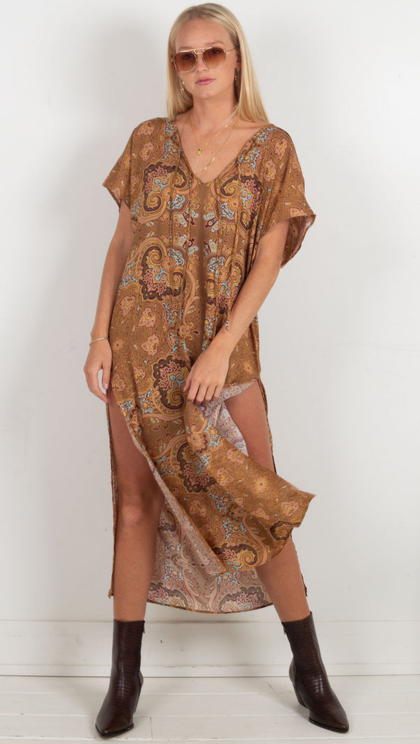 The Margot Caftan - Rust Moroccan Sun