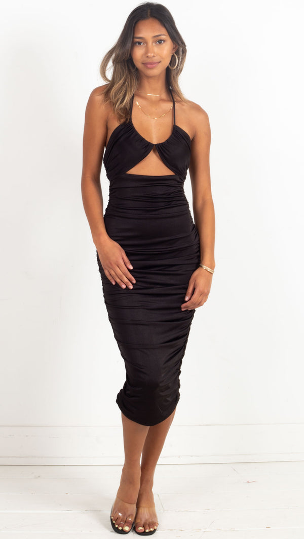 cut-out bodice halter midi gathered side dress in black