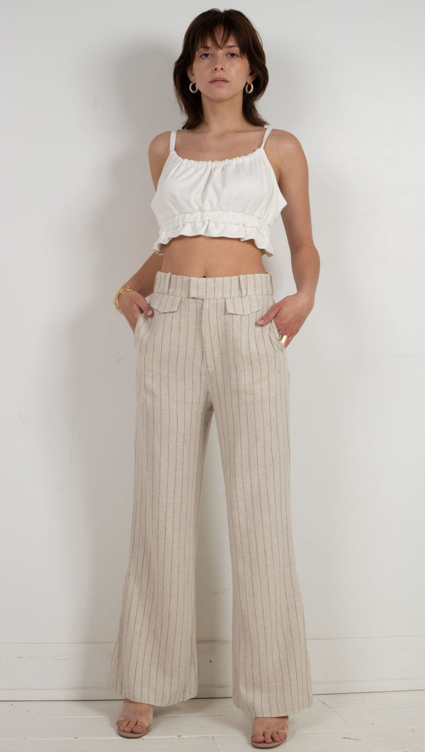 tailored trouser striped pants cream