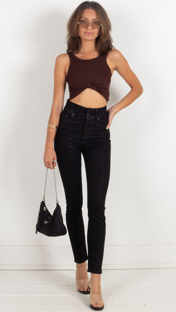 Ribbed Twist Crop Tank - Brown