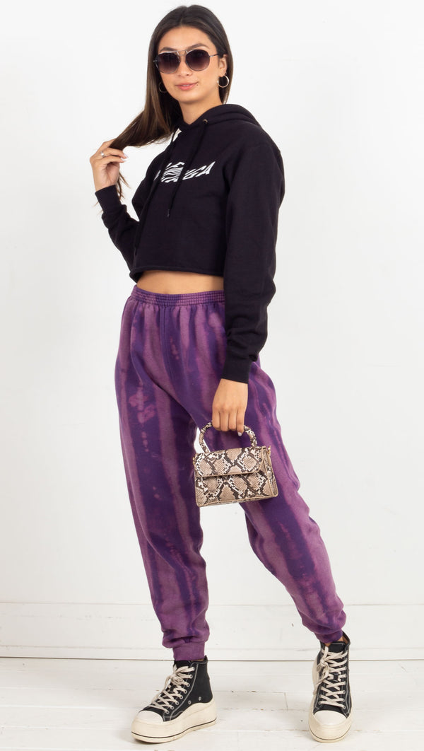 tie dye sweat pants purple