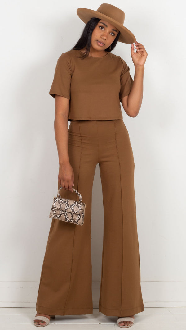 high waisted wide leg pant brown