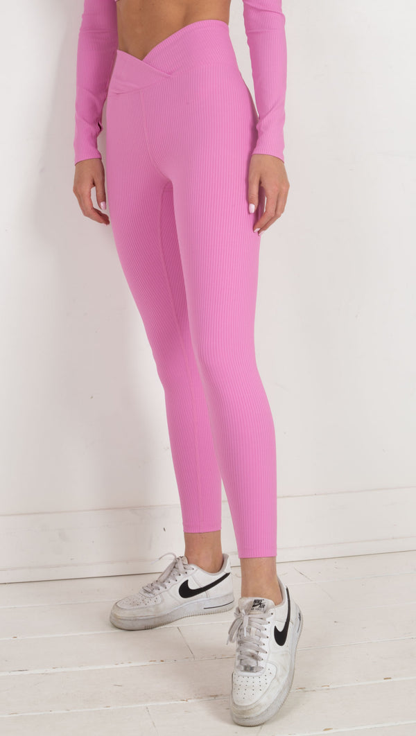 Veronica Ribbed Legging - True Pink