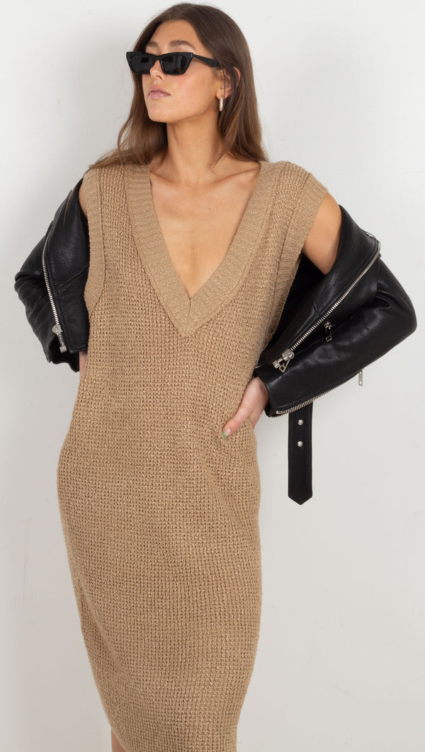 Airelie Knit Midi Dress - Khaki