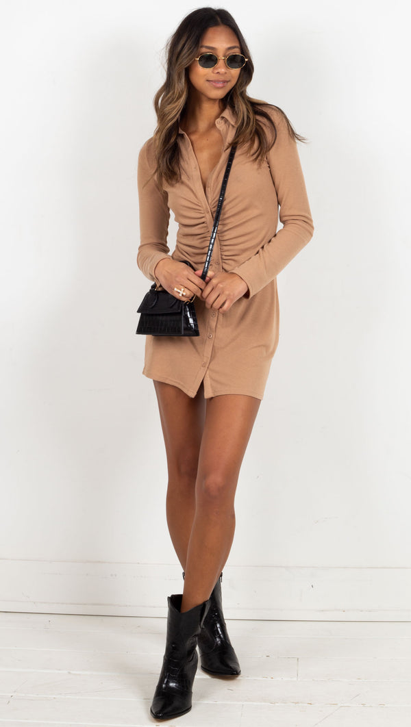 mini ribbed collared long sleeve dress tan