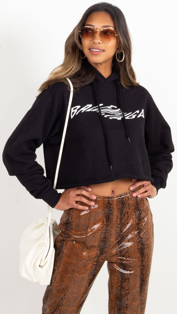 cropped hoodie with balenciaga logo in wave font black