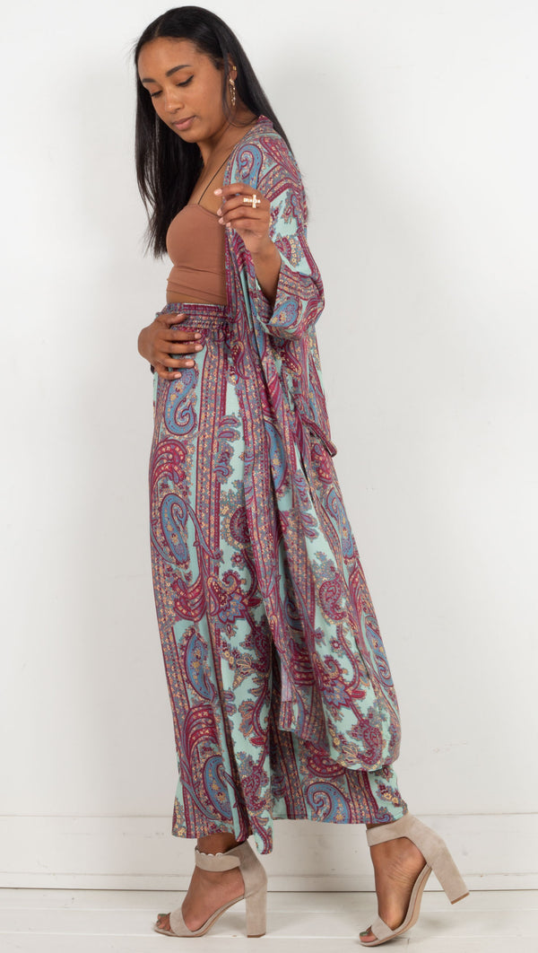 paisley design open long robe with waist tie