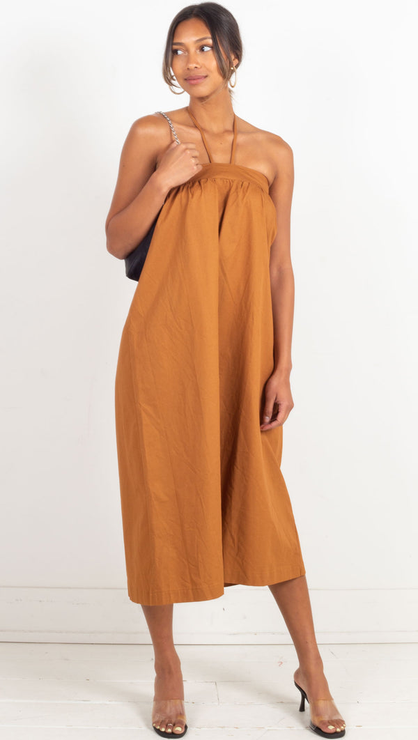 2 in 1 dress but can be worn as a skirt burnt orange