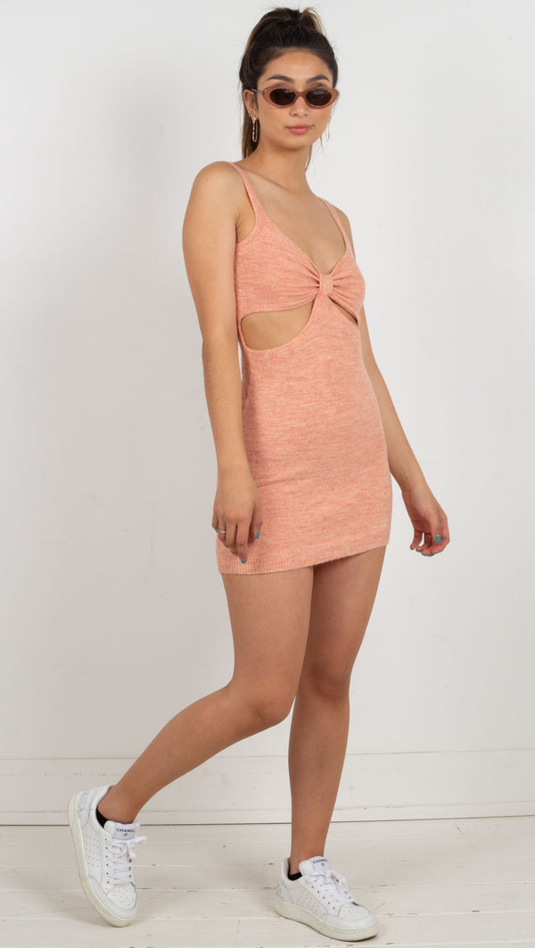 knit cut out mini dress thin strap orange
