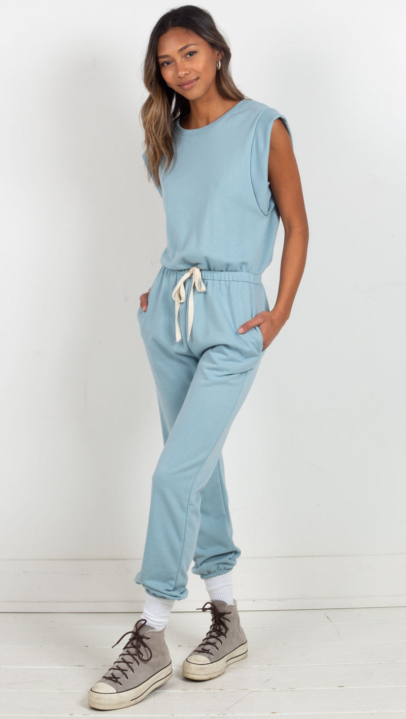 Drawstring Jumpsuit - Blue