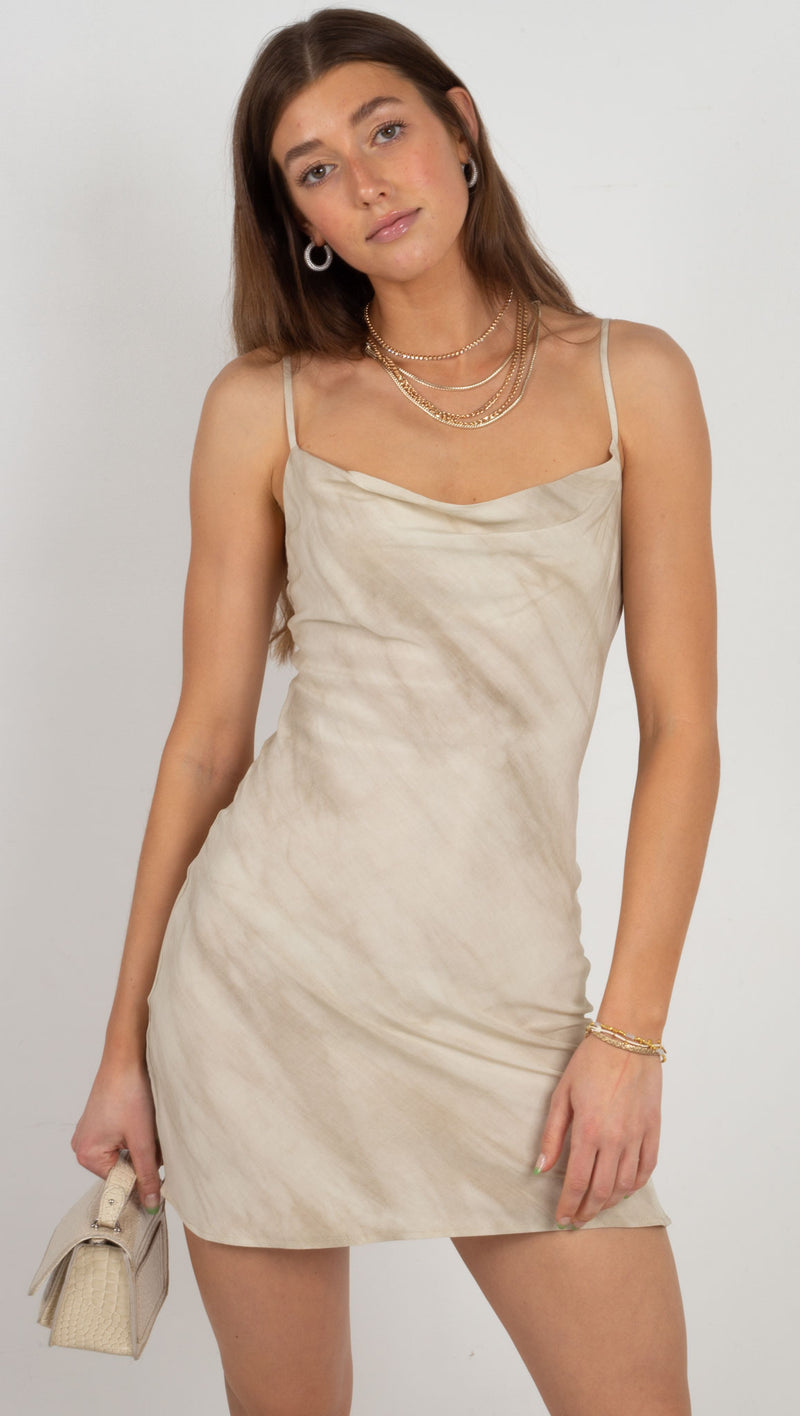 cowl neck mini dress tie dye cream