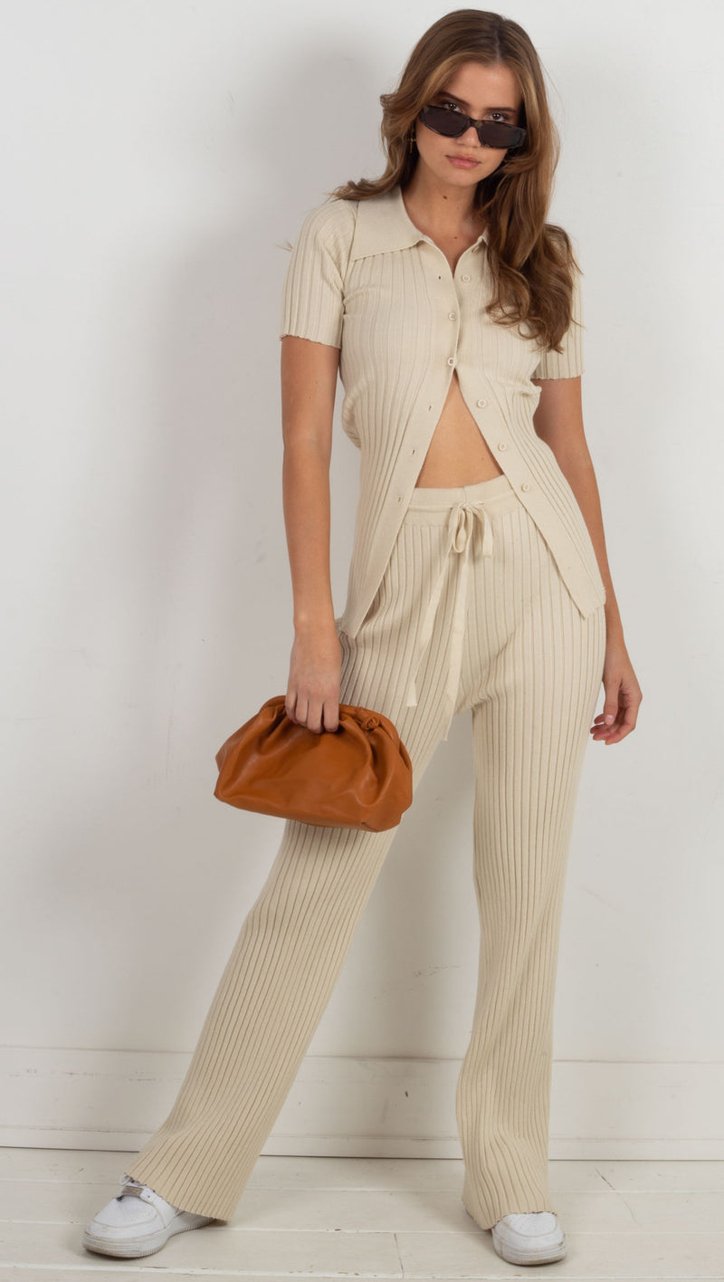 Ella Ribbed 2 Piece Set - Bone