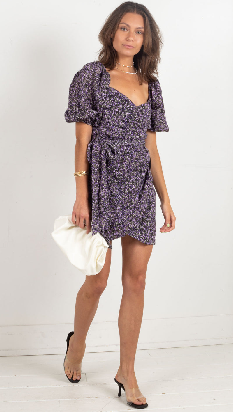 Emilia Floral Mini Wrap Dress - Black/Purple