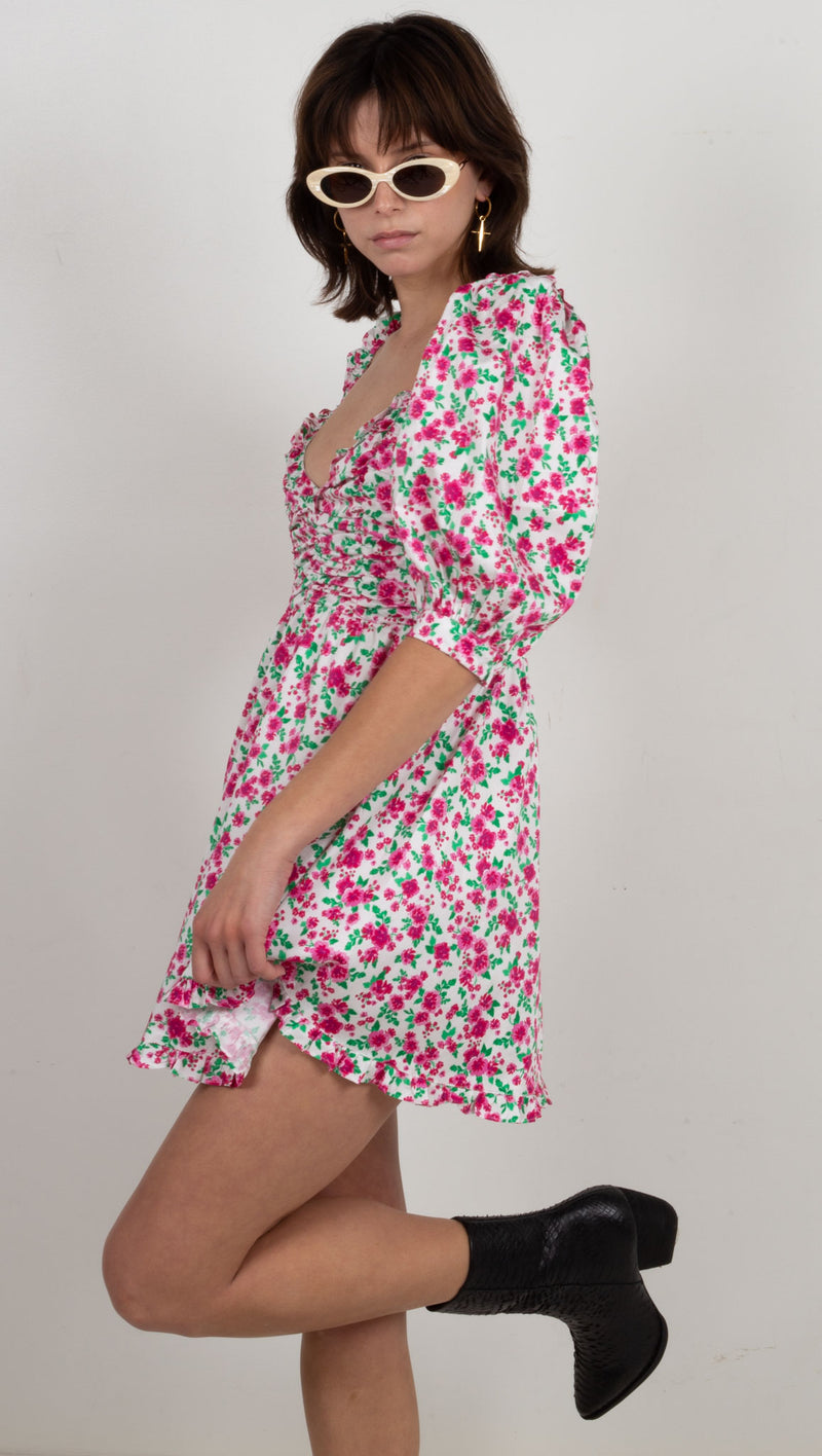 Petal Mini Dress - Carnation