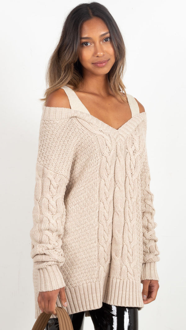 cord like knit material tank and sleeved sweater cream