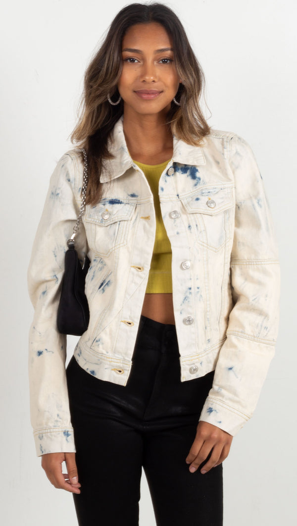 tie dye jean jacket light wash denim