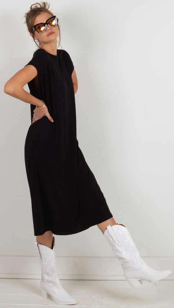 Lauren Midi Tee Dress - Black