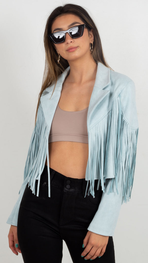 fringe jacket with collar blue
