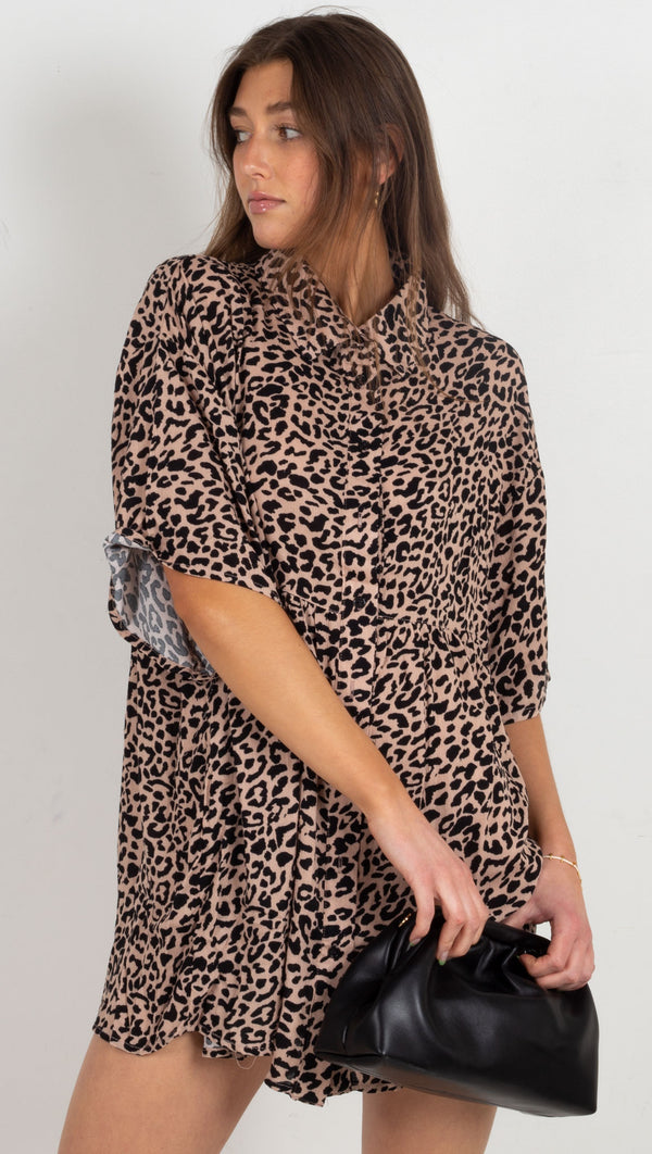 Leopard Babydoll Dress - Taupe