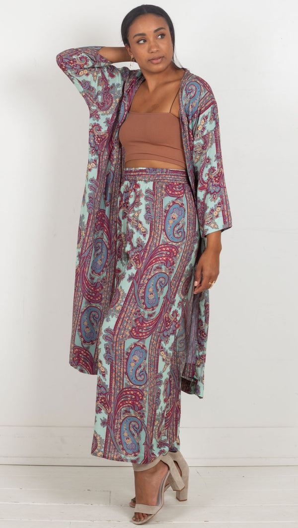 paisley loose pants high waisted blue and pink