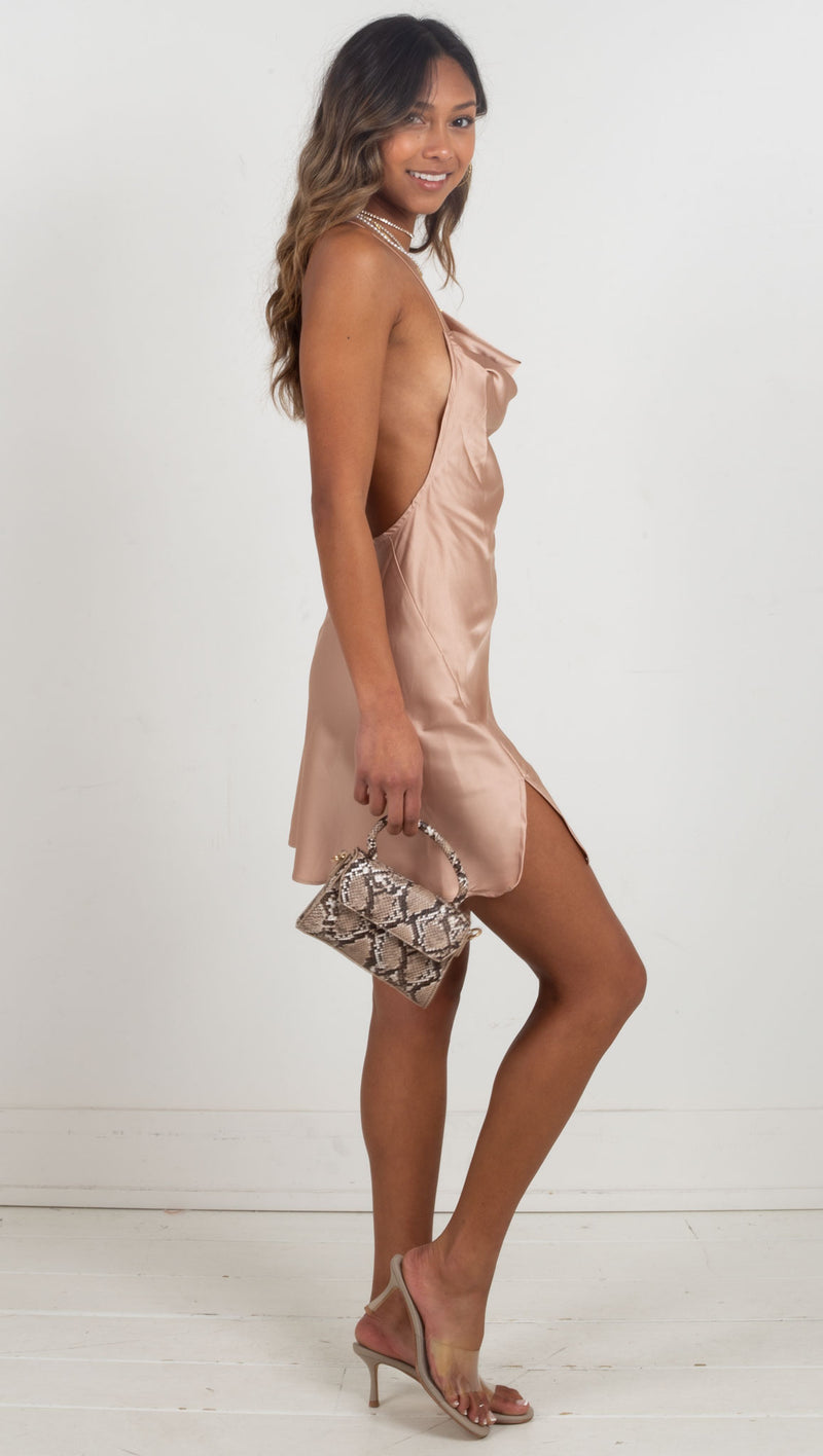 Morocco Satin Slit Mini Dress - Nude