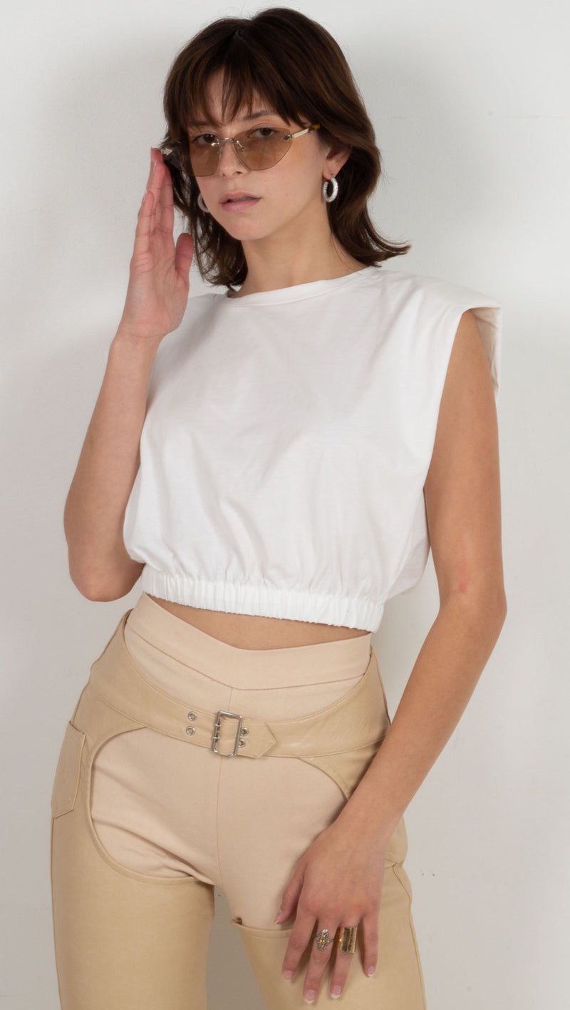 padded shoulder sinched waist shirt white