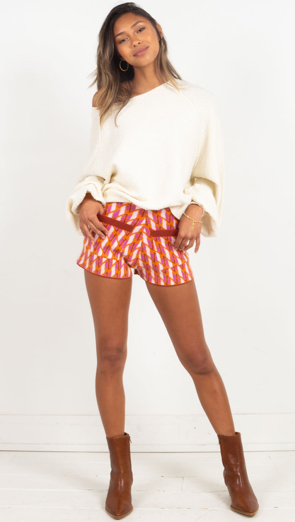 retro shorts pink and orange