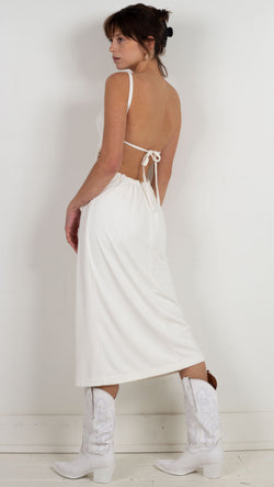 midi dress pull through ties tie in the back white