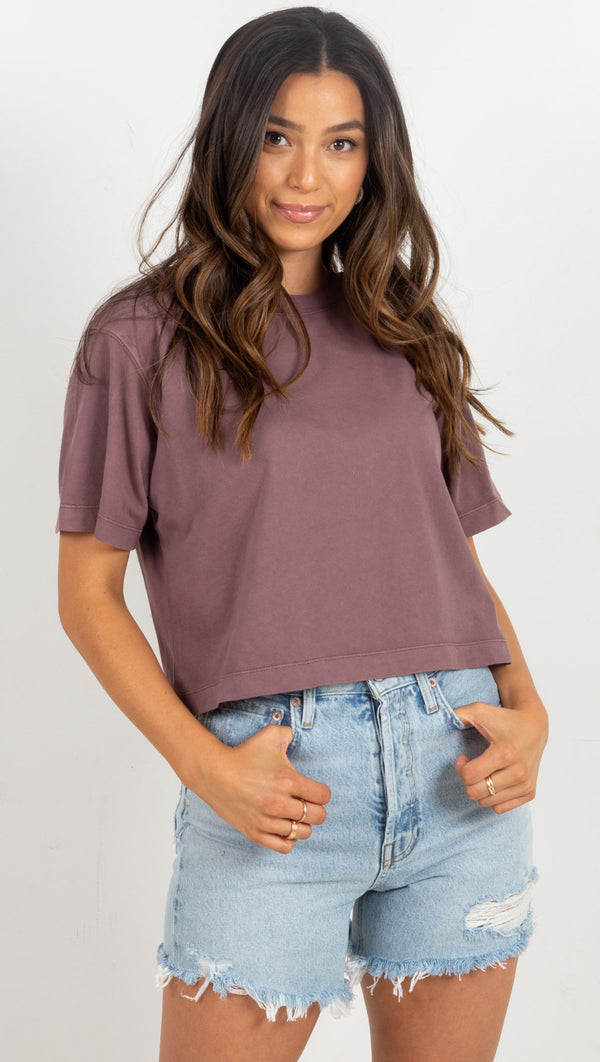 basic crop tee purple