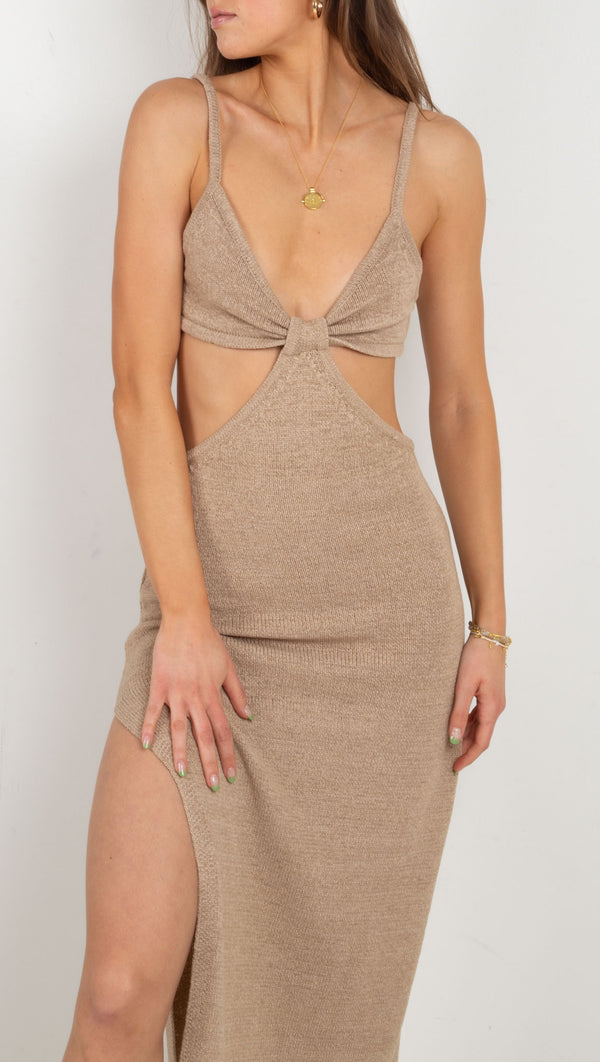 Rialto Knit Cut Out Maxi Dress - Taupe