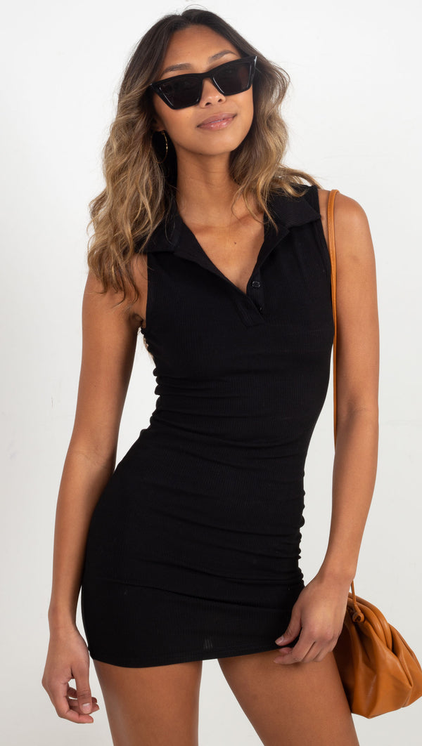 Rib Collar Mini Dress - Black