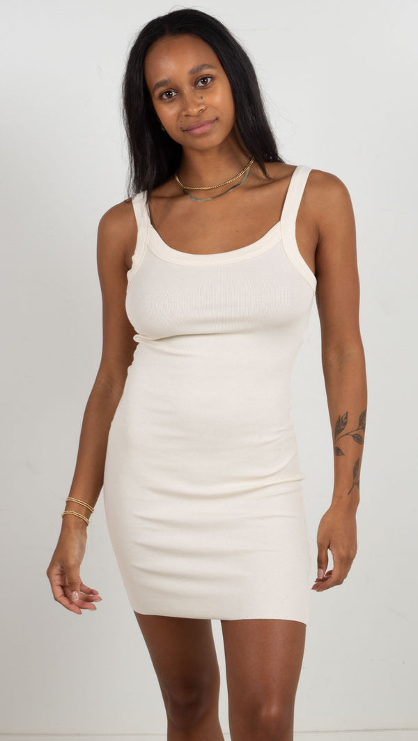 Ribbed Tank Mini Dress - Bone