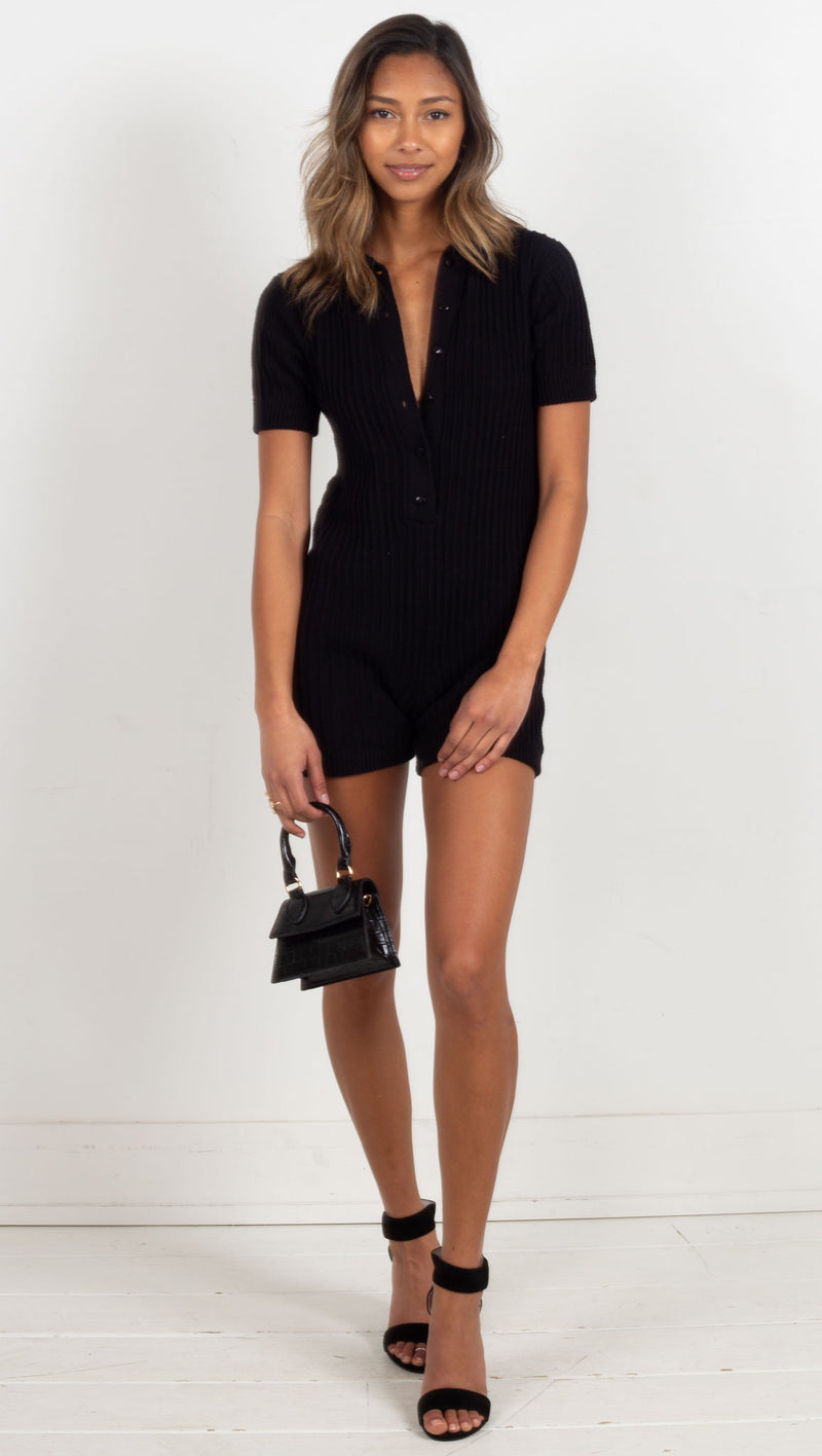 Ryder Knit Romper - Black