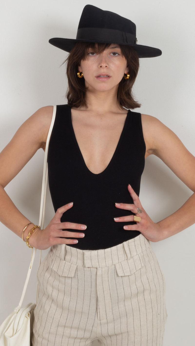 ribbed scoop neck bodysuit black