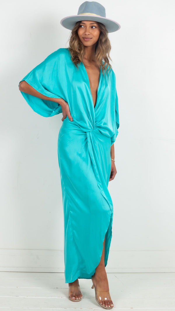 deep v twist in front slit in leg maxi dress blue
