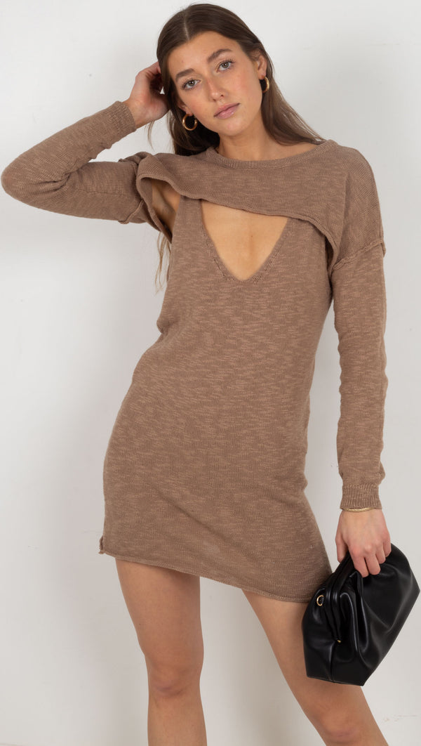 knit 2 piece set dress long sleeve brown