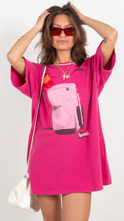 pink graphic tee dress