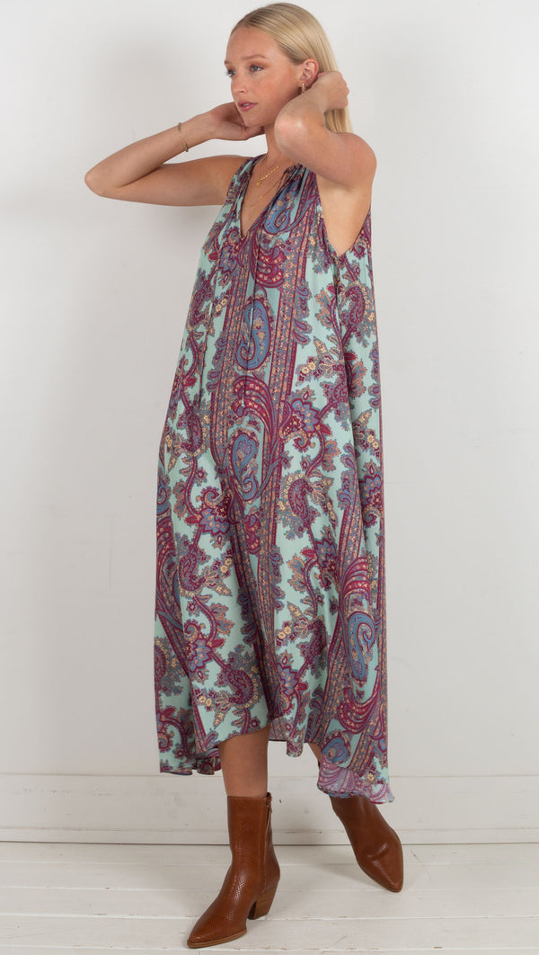 flowy tank dress paisley blue material