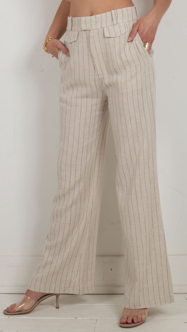 Picnic Stripe Tailored Trouser - Straw Stripe