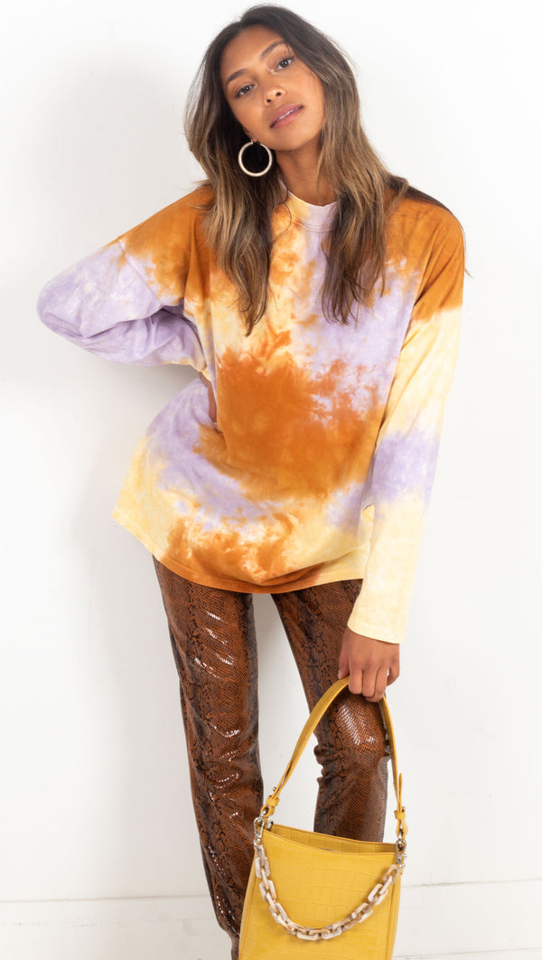 tie dye long sleeve high neck orange purple