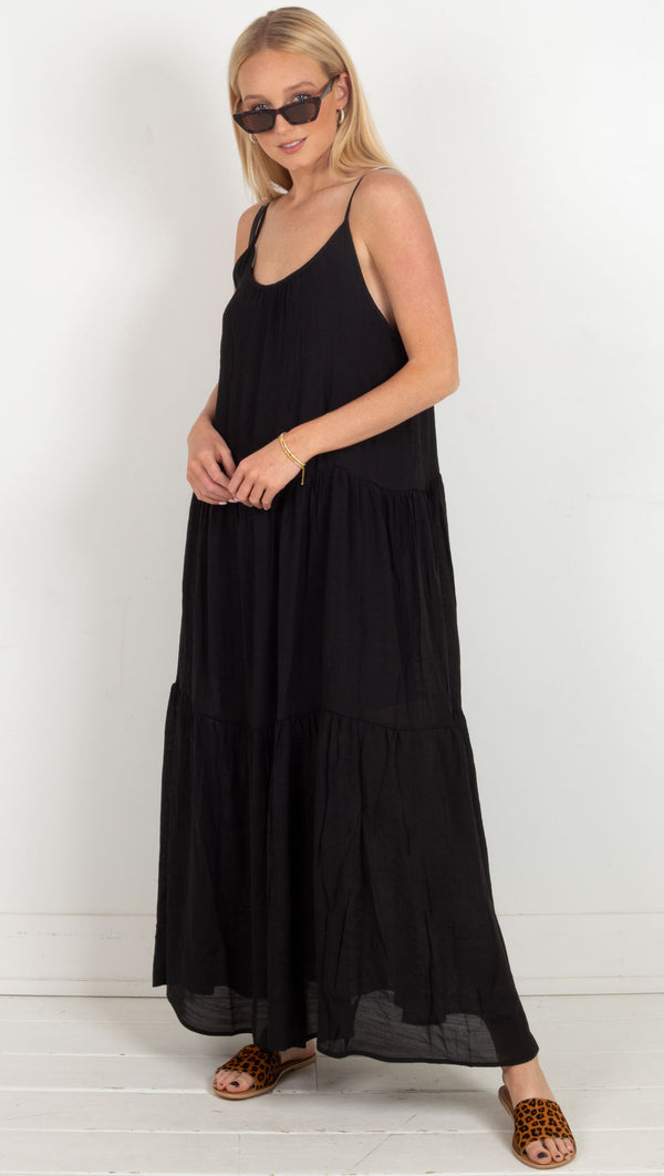 tiered skinny strap flowy maxi dress back