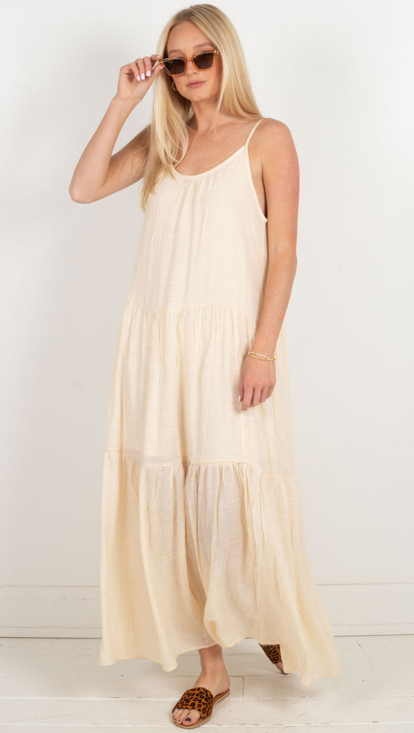 tiered skinny strap flowy maxi dress cream