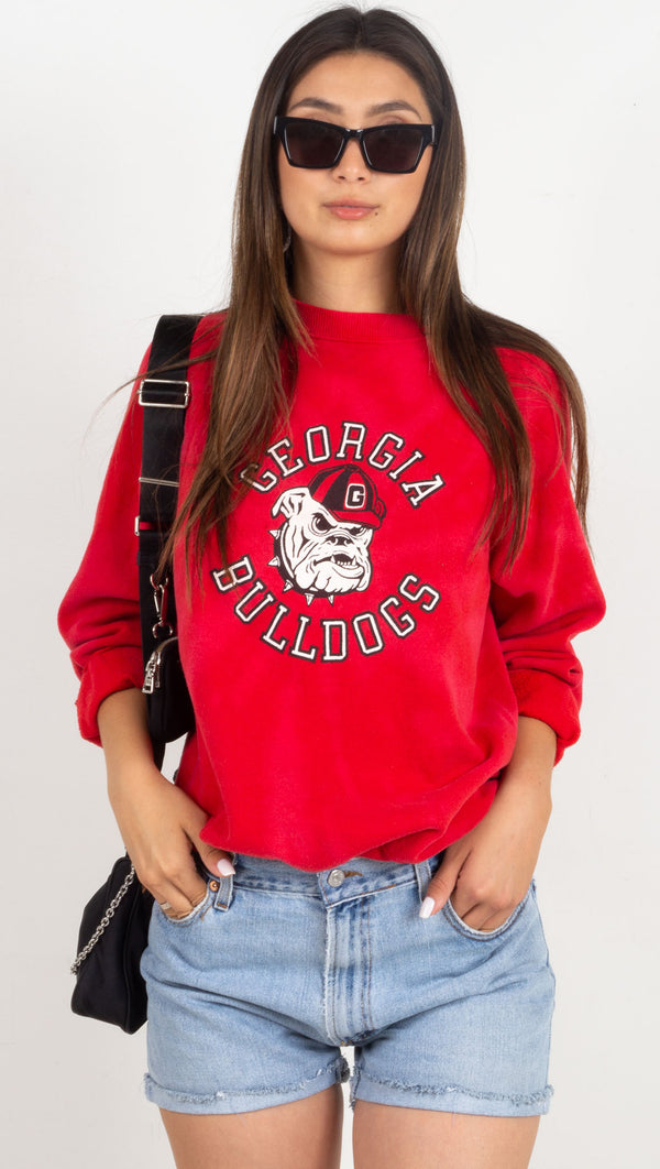 georgia bulldogs vintage red crewneck