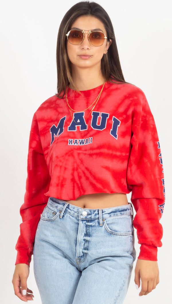 maui cropped graphic sweatshirt red tie dye