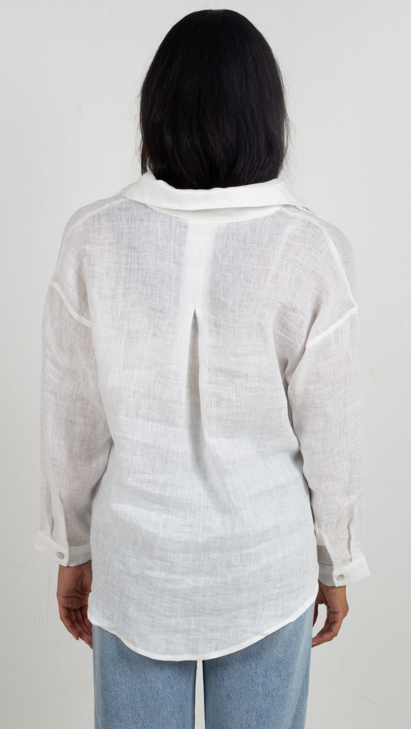Long Sleeve Linen Button Down - Off White