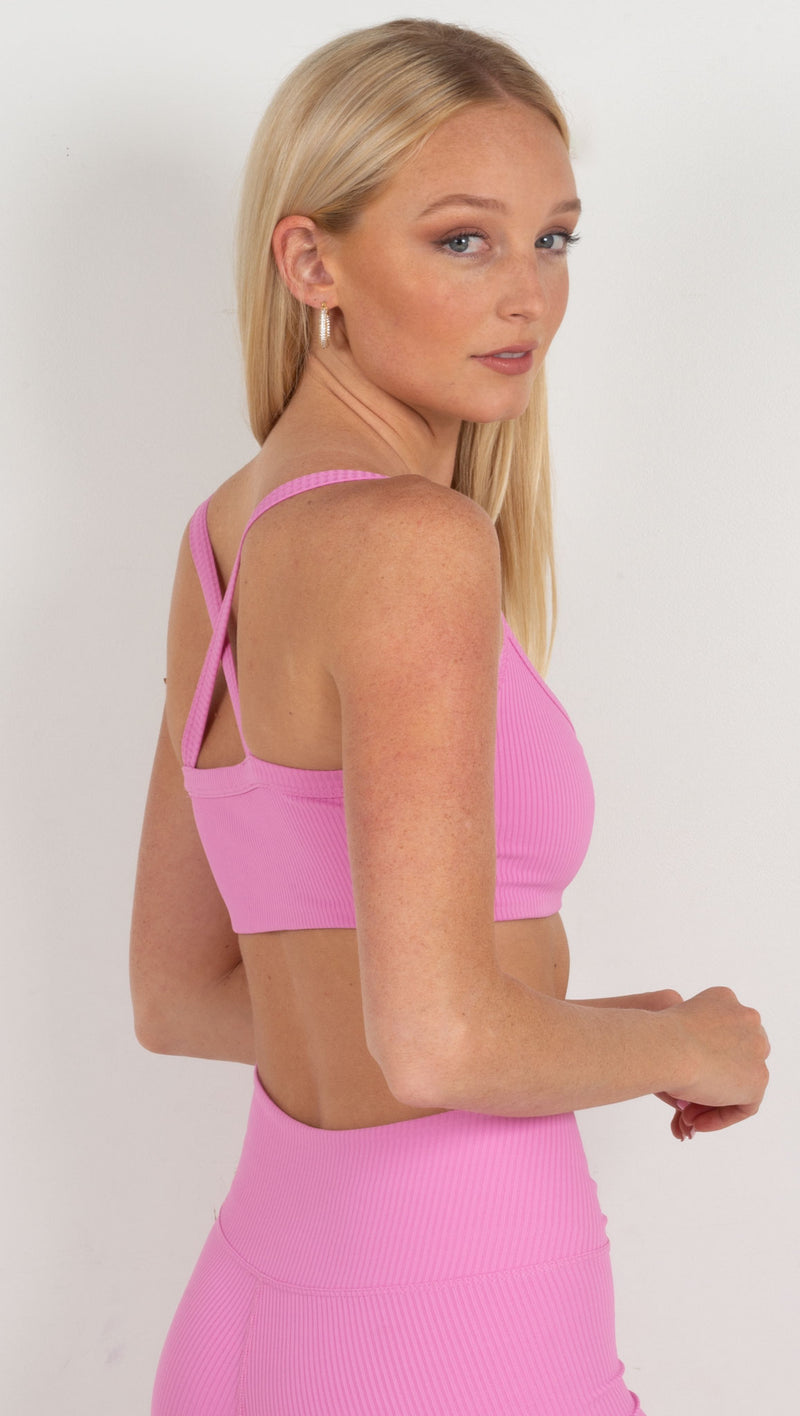 ribbed sports bra straps cross in the back pink