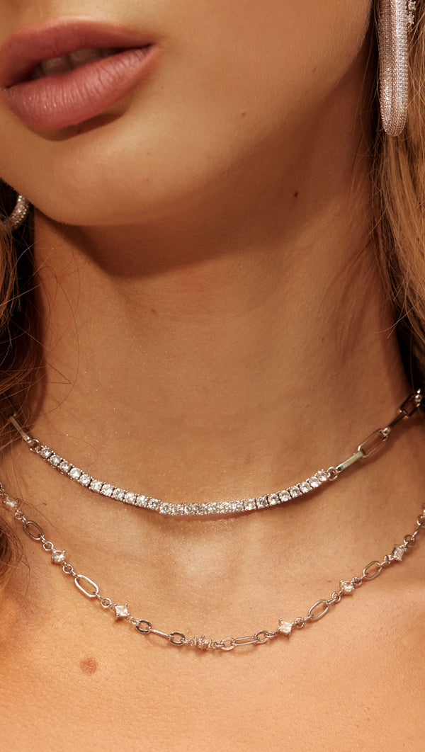 Ballier Chain Link Necklace - Silver
