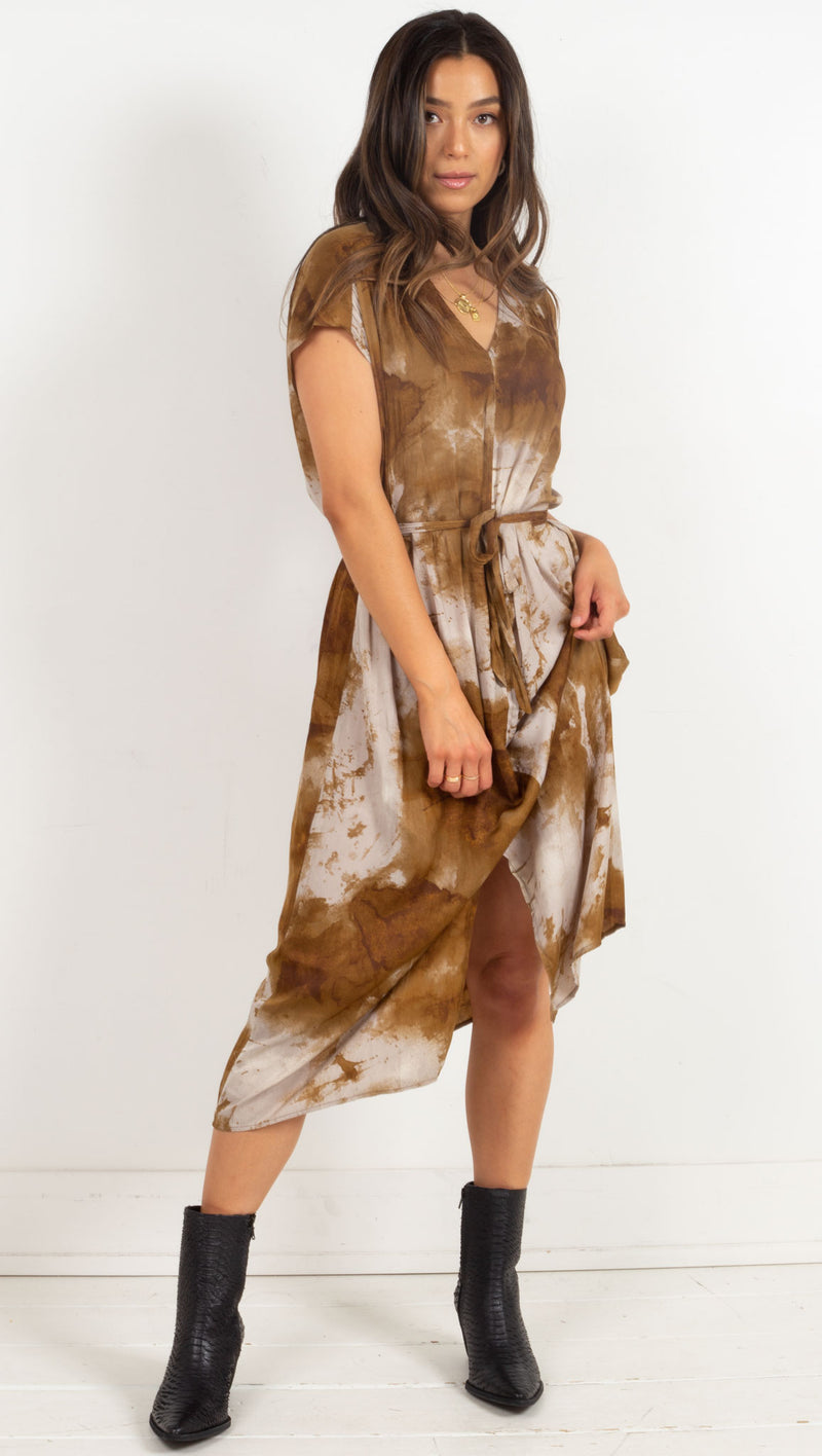Camila Satin Tie Dye Dress - Brown
