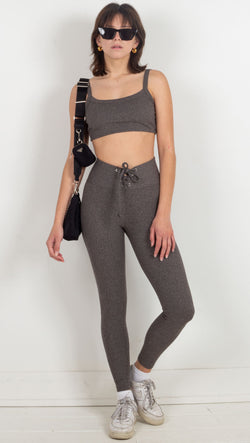 high waisted ribbed front tie grey