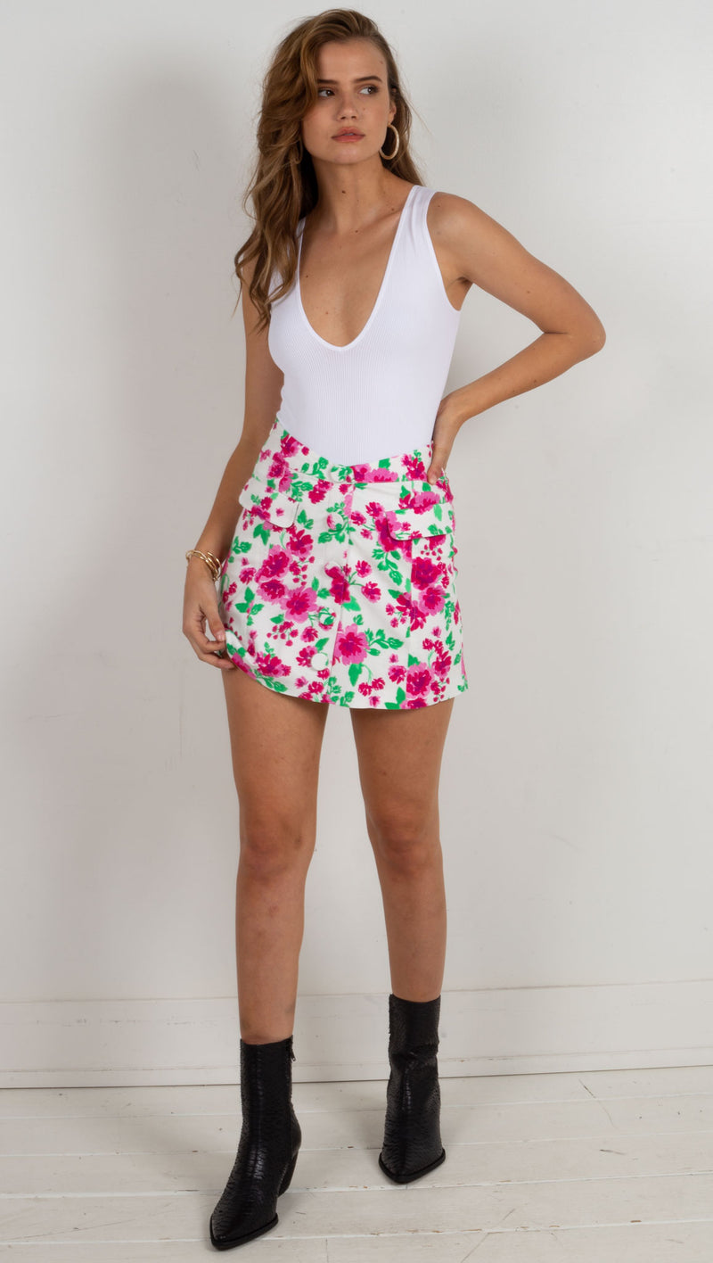 Janelle Mini Skirt - Carnation